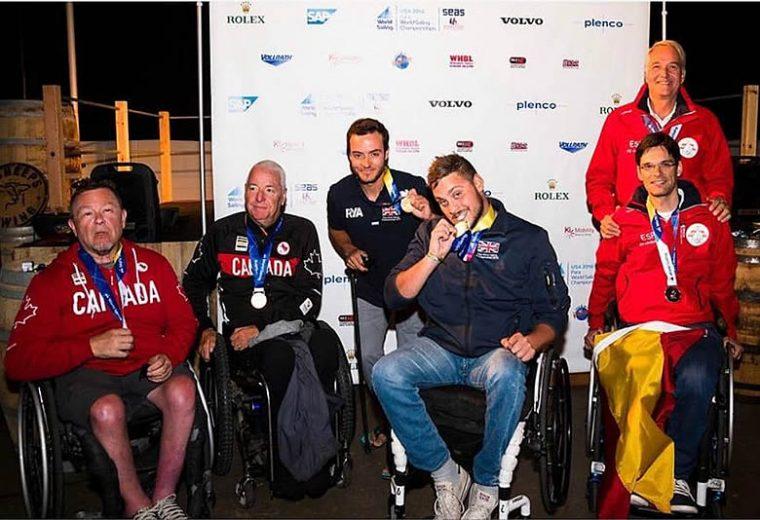 Los medallistas en la clase RS Venture del Campeonato del mundo de Vela Adaptada