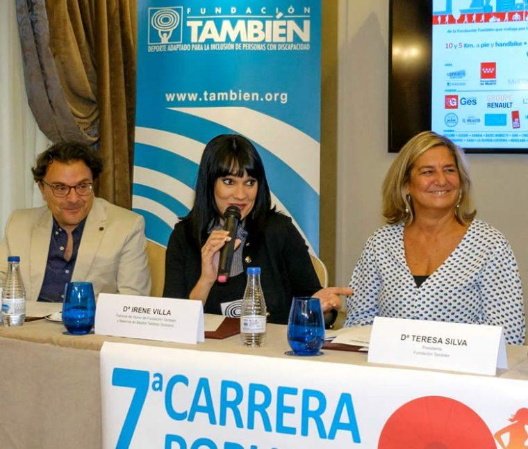Irene Villa, madrina de la carrera, interviene en la presentación de la 7ª Carrera Popular Madrid También Solidario