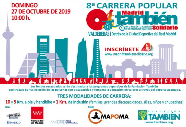 Cartel oficial de la 8ª Carrera Popular Madrid También Solidario