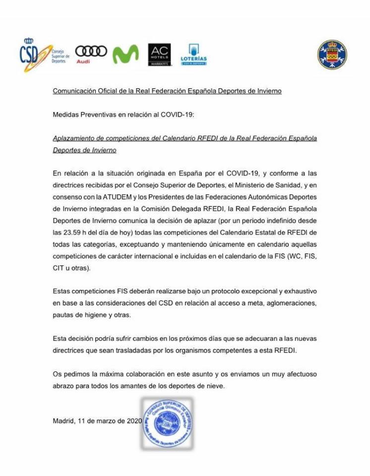 Comunicado de aplazamiento de competiciones del Calendario RFEDI