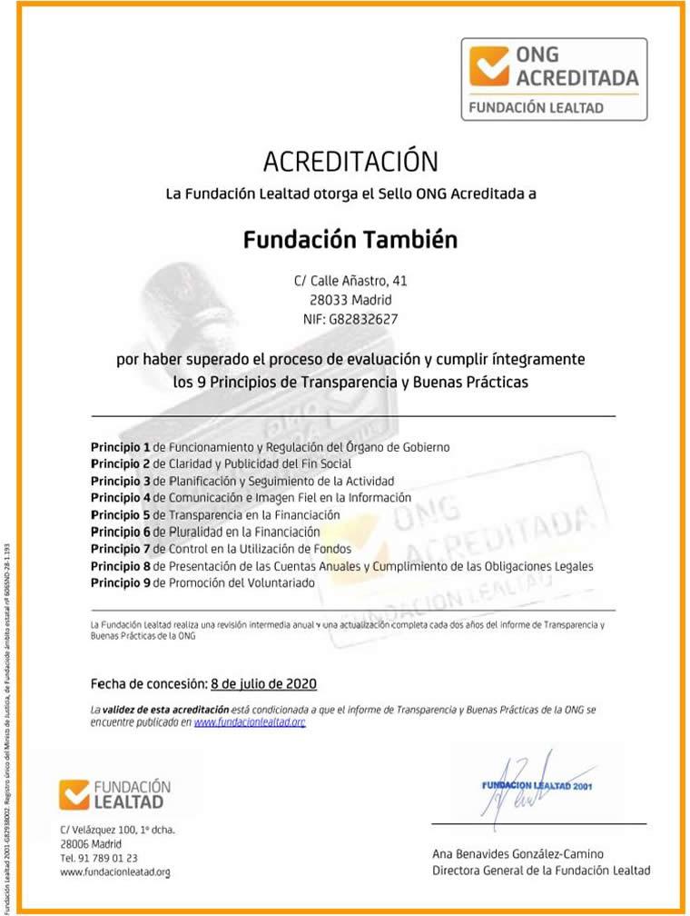 Fundación También, ONG acreditada por la Fundación Lealtad