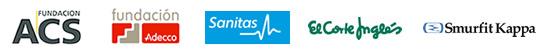 Patrocinadores cursos de esquí: Fundación ACS, Fundación Adecco, Sanitas, El Corte Inglés, Smurfit Kappa